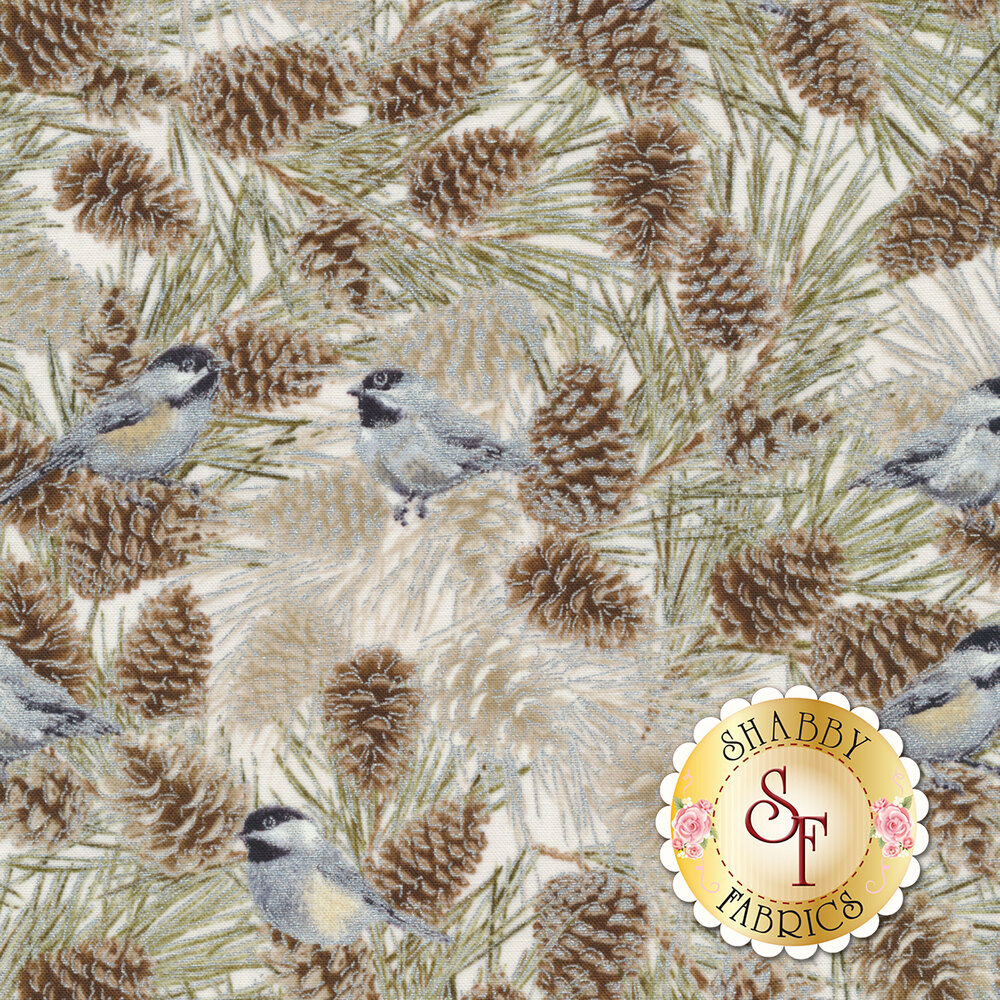 Silver birds and brown pine cones all over cream with green pine needles | Shabby Fabrics