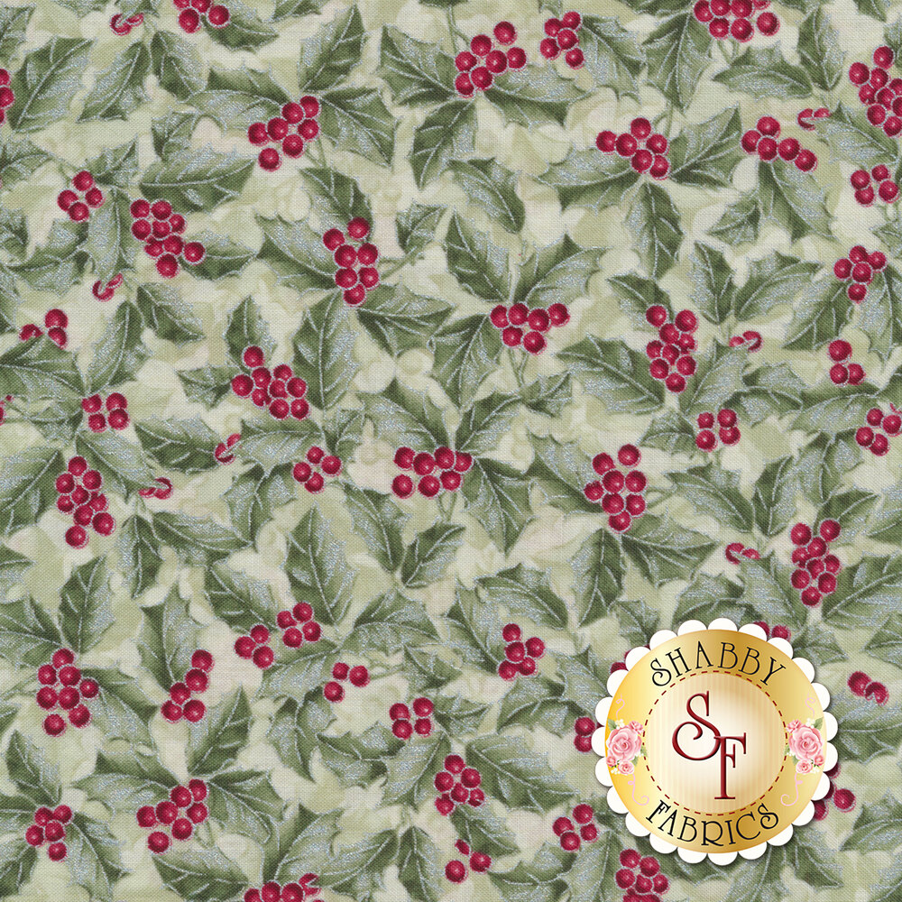Red holly berries on green holly all over green | Shabby Fabrics