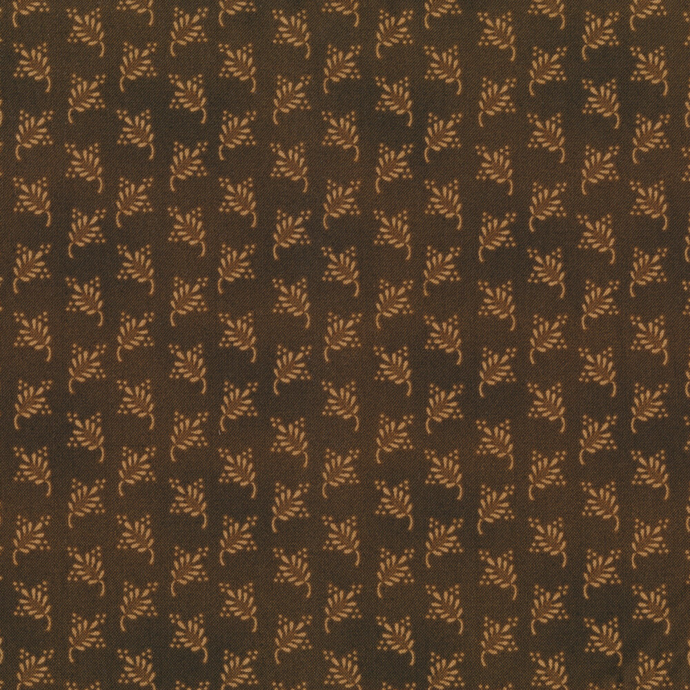 Tonal tan berry blooms on a dark brown background | Shabby Fabrics