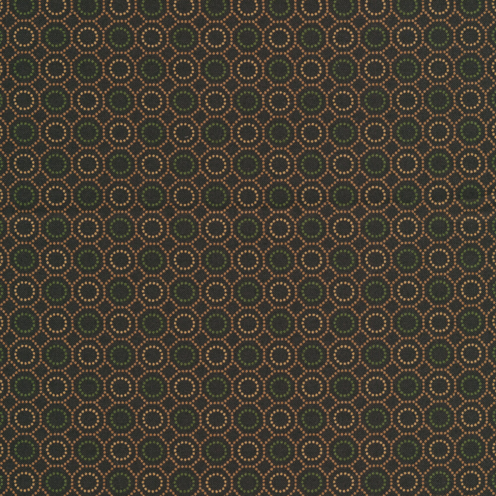 Dotted hexies on a brown background | Shabby Fabrics