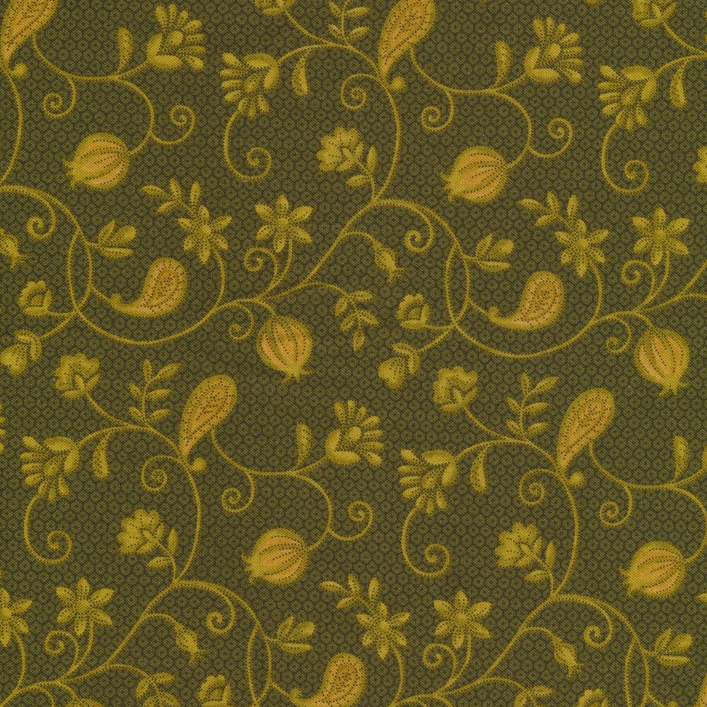 Tonal paisleys and flowers on vines   Shabby Fabrics