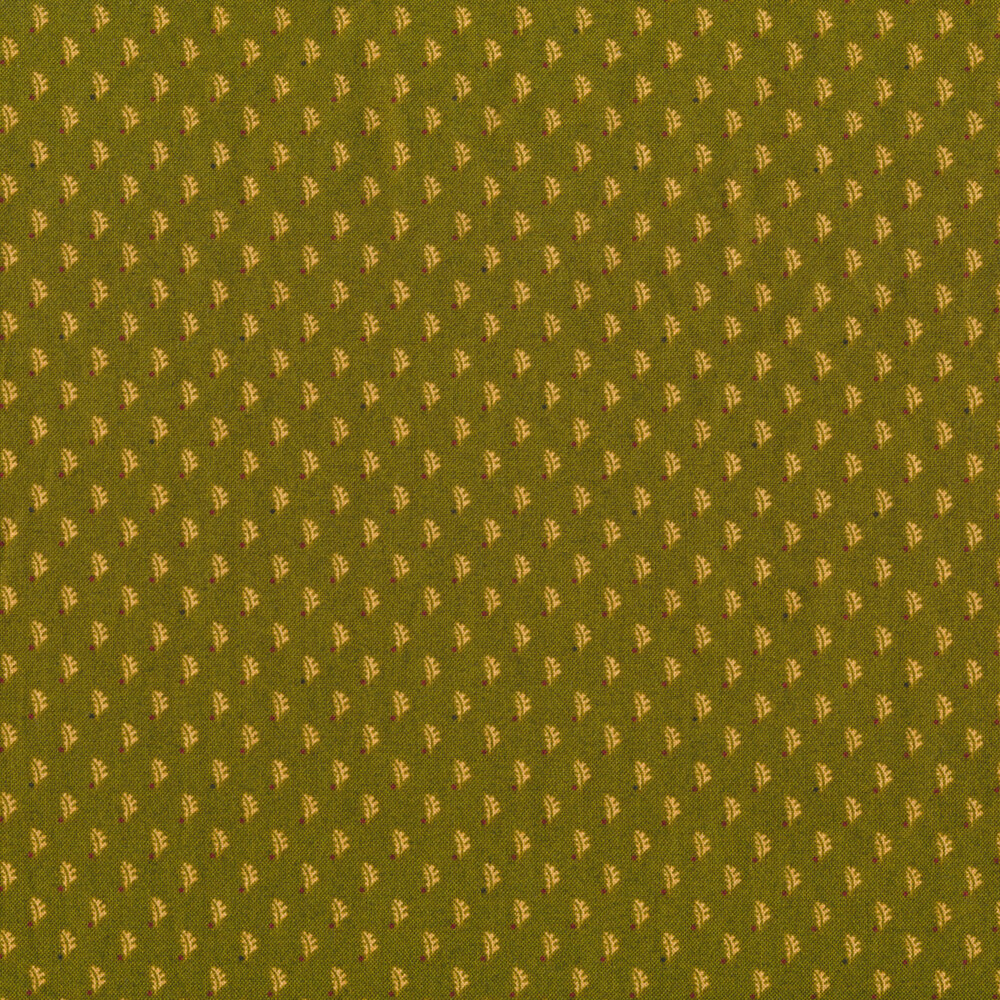 Tan pressed leaves on a green background | Shabby Fabrics