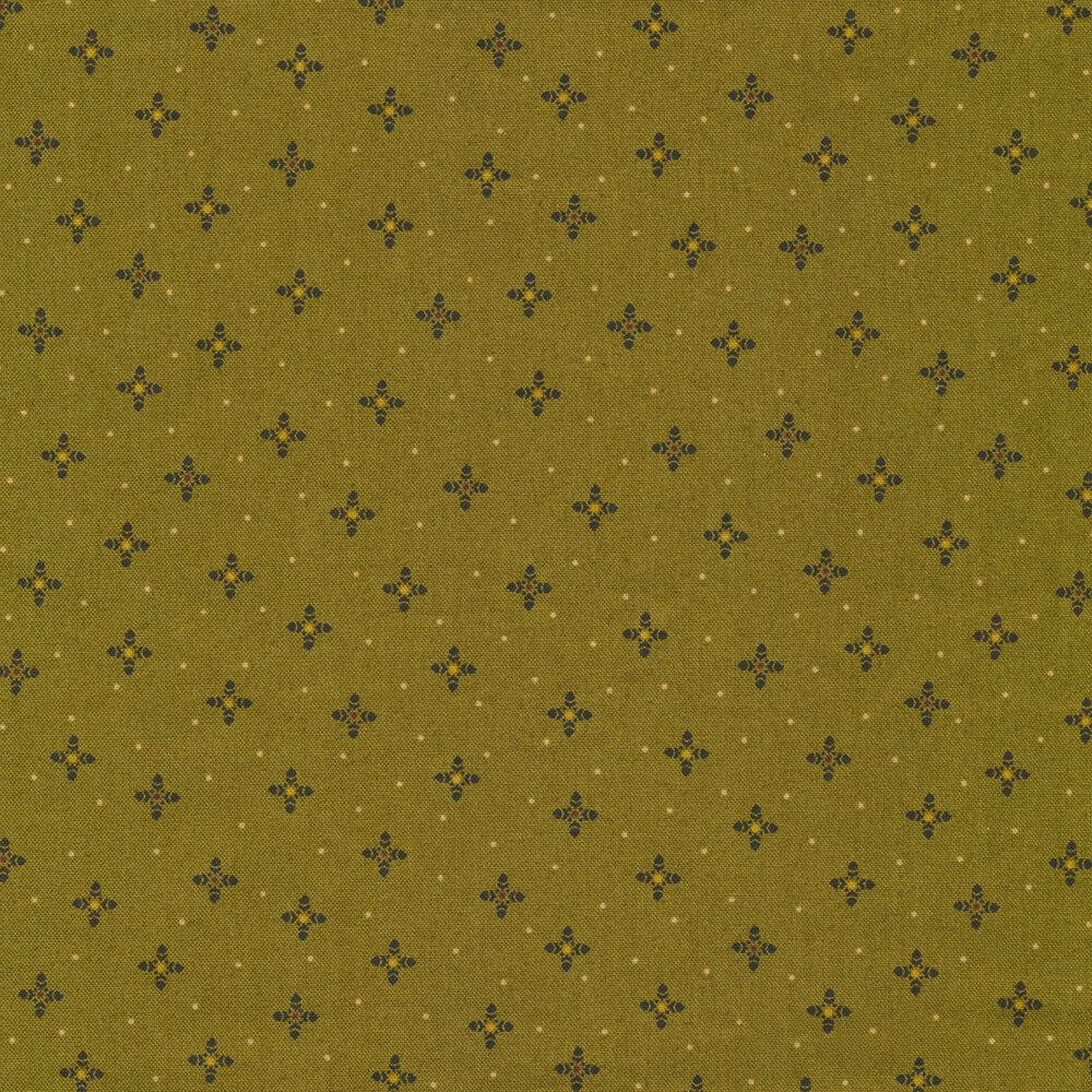 Small pin dots and crosshairs on a green background | Shabby Fabrics