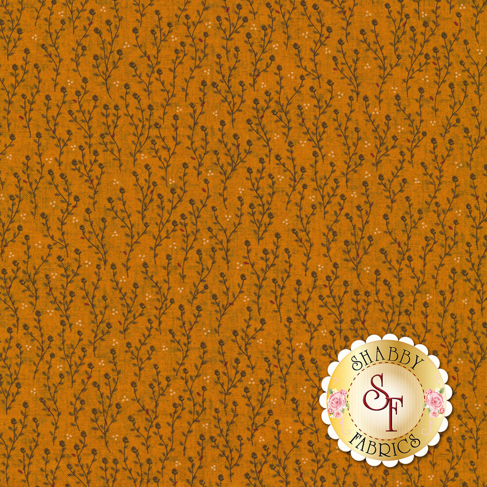 Tiny leaves and vines on an orange background | Shabby Fabrics