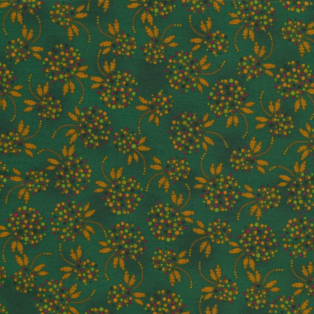 Tossed multi colored dot flowers on a mottled teal background | Shabby Fabrics