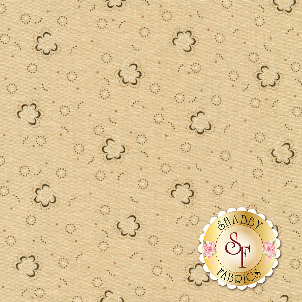 Small dotted flowers and blooms on a cream background   Shabby Fabrics