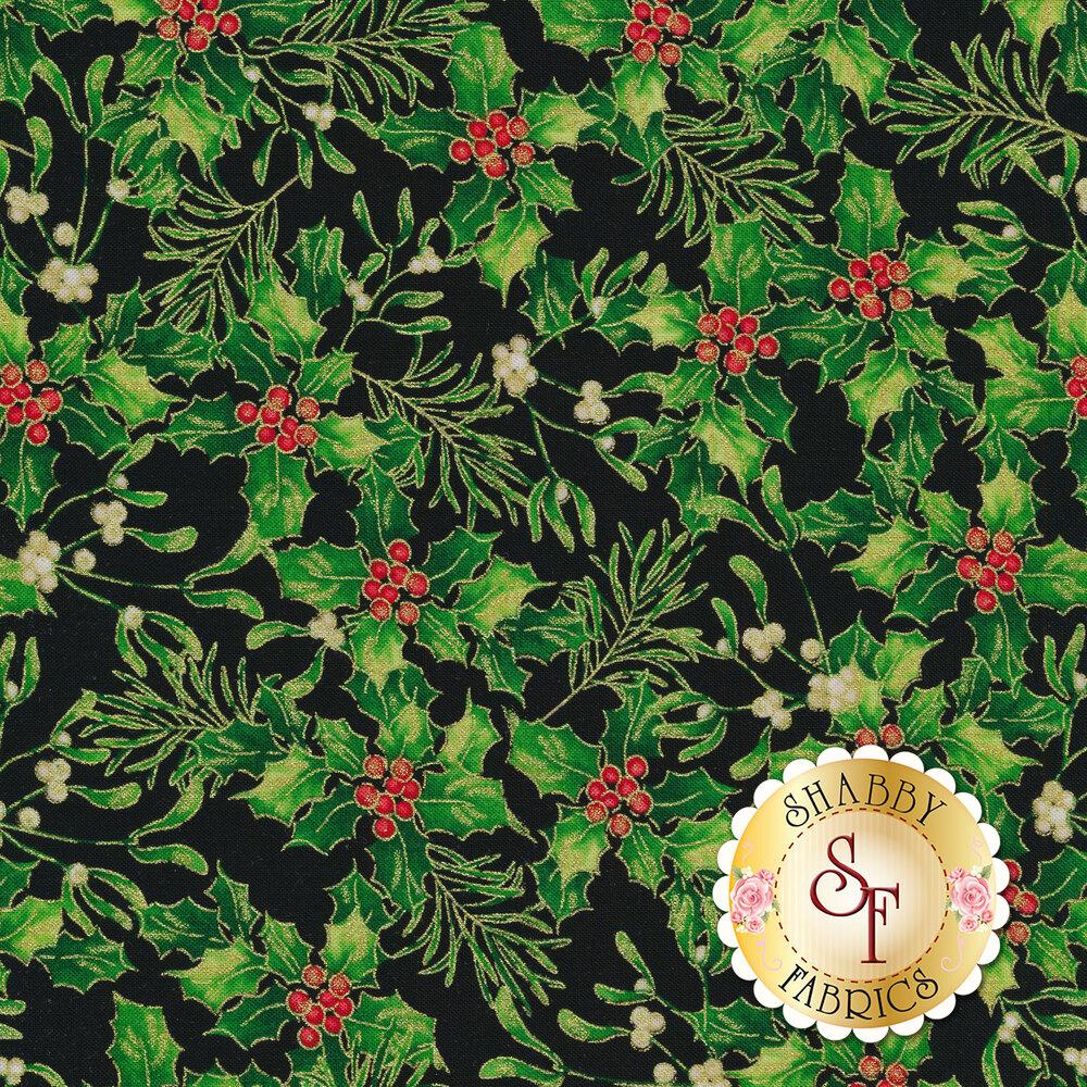 Mistletoe on black | Shabby Fabrics