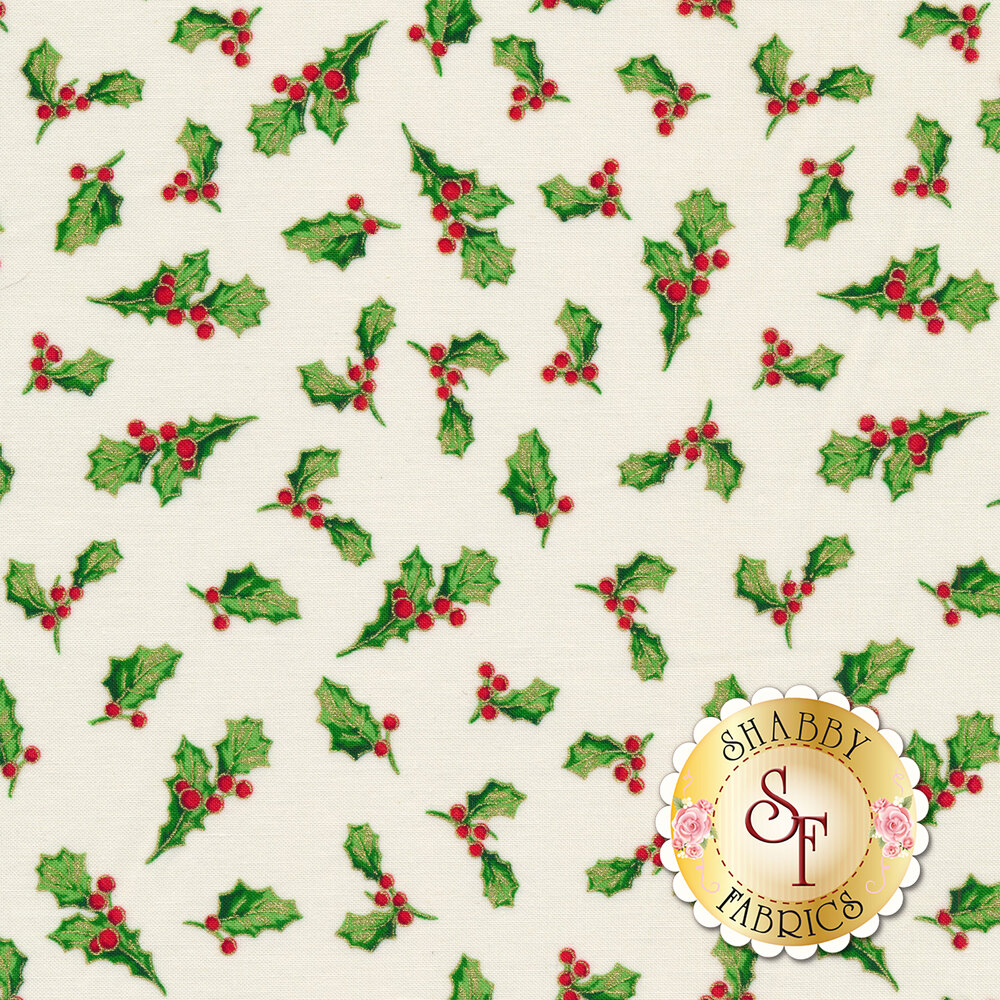 Holly and berries tossed on cream | Shabby Fabrics