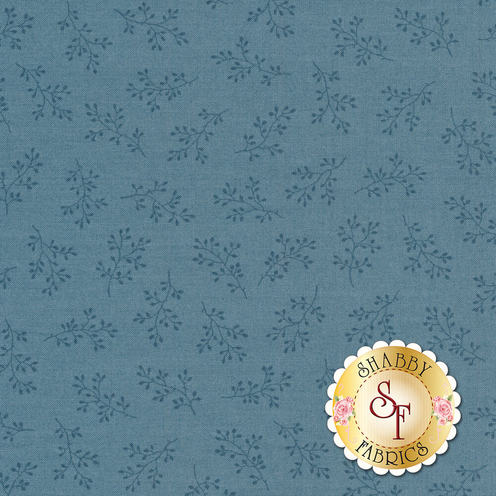 Powder blue tonal print with olive branches | Shabby Fabrics