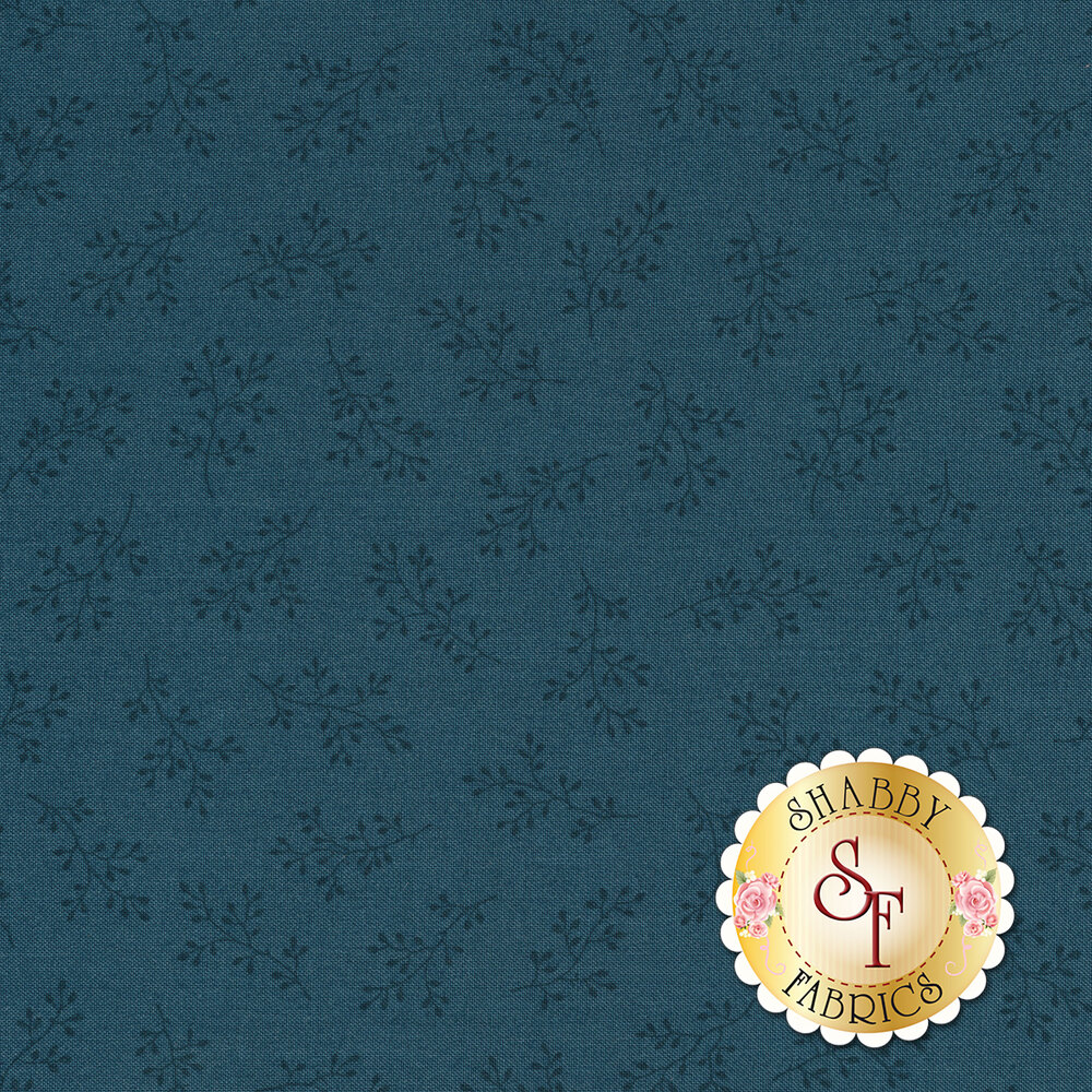 Cadet blue tonal print with olive branches | Shabby Fabrics