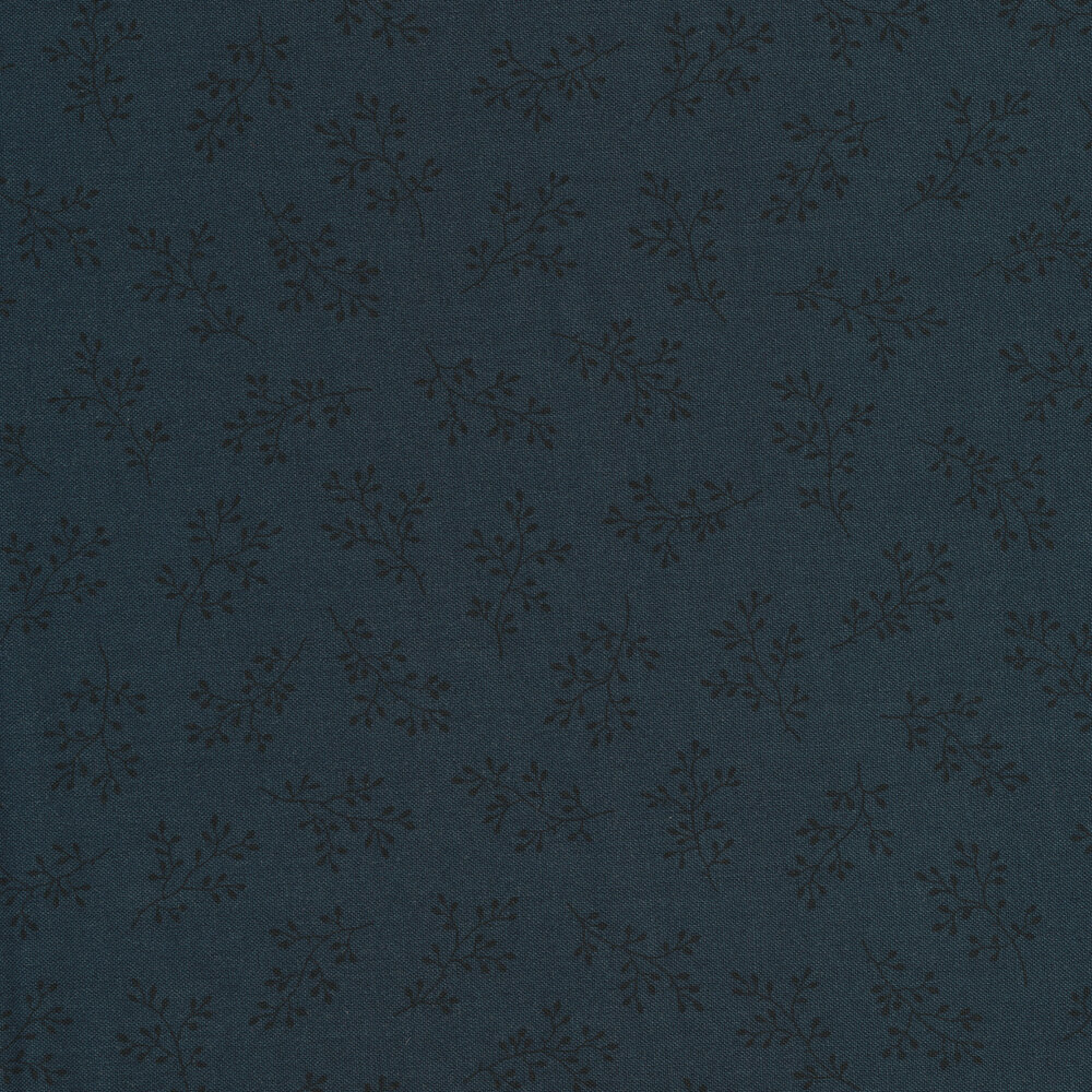 Navy tonal print with olive branches | Shabby Fabrics