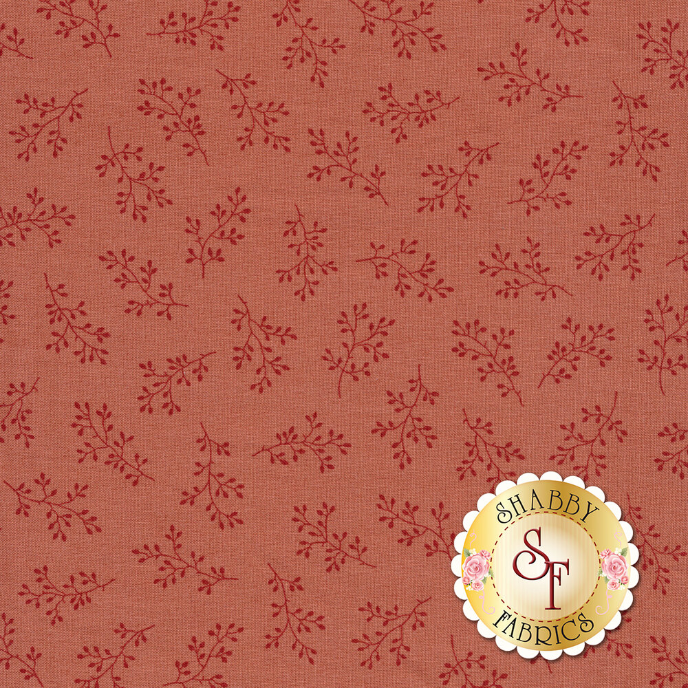 Dusty rose tonal print with olive branches | Shabby Fabrics