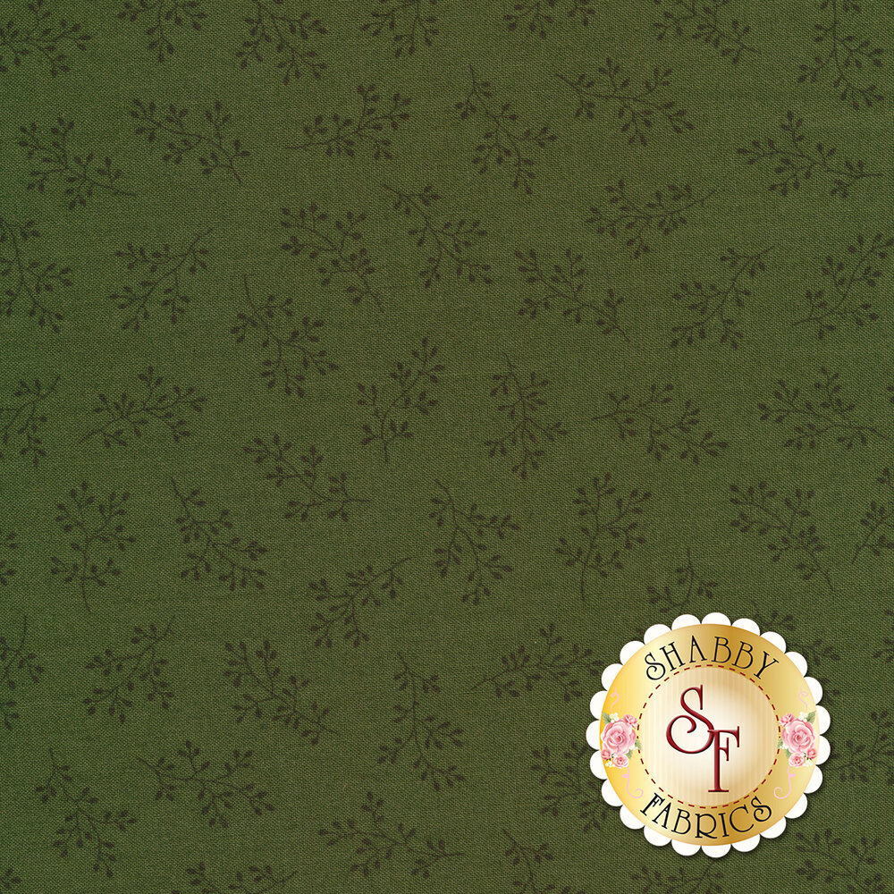 Medium green tonal print with olive branches   Shabby Fabrics