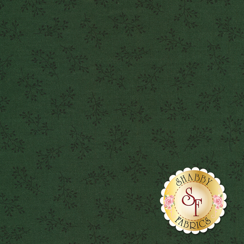 Dark green tonal print with olive branches   Shabby Fabrics
