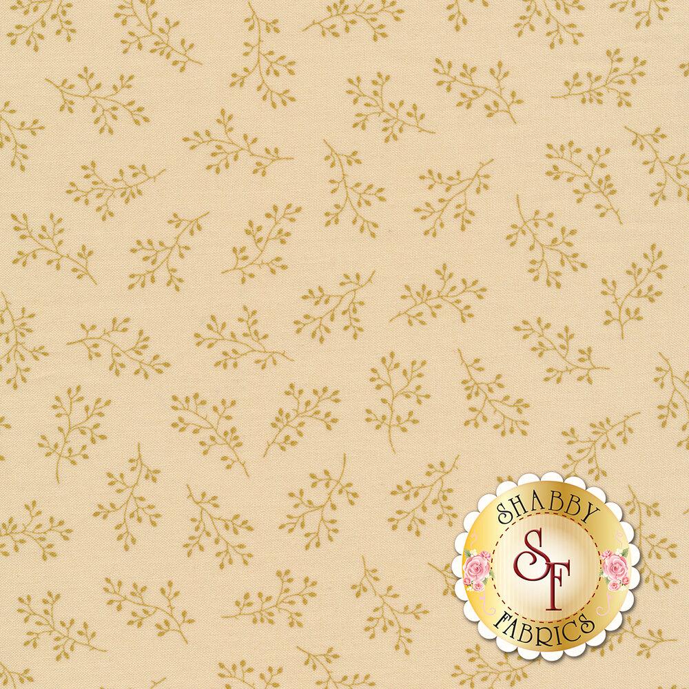 Cream tonal print with olive branches | Shabby Fabrics