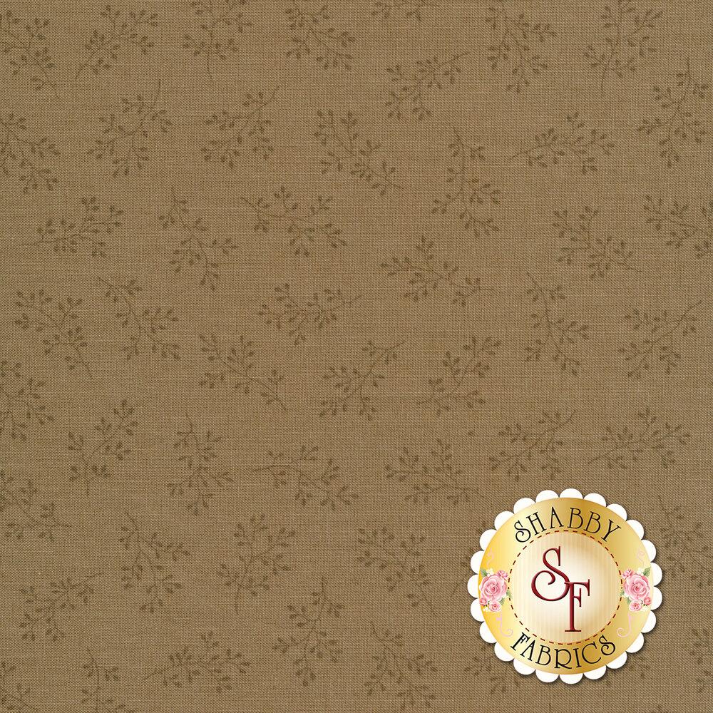 Dark tan tonal print with olive branches | Shabby Fabrics