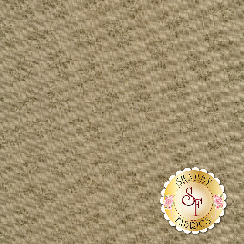 Sage green tonal print with olive branches | Shabby Fabrics