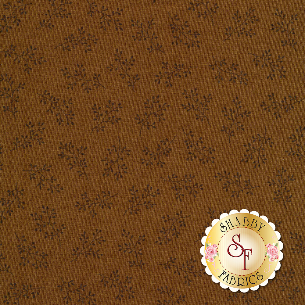 Brown tonal print with olive branches | Shabby Fabrics