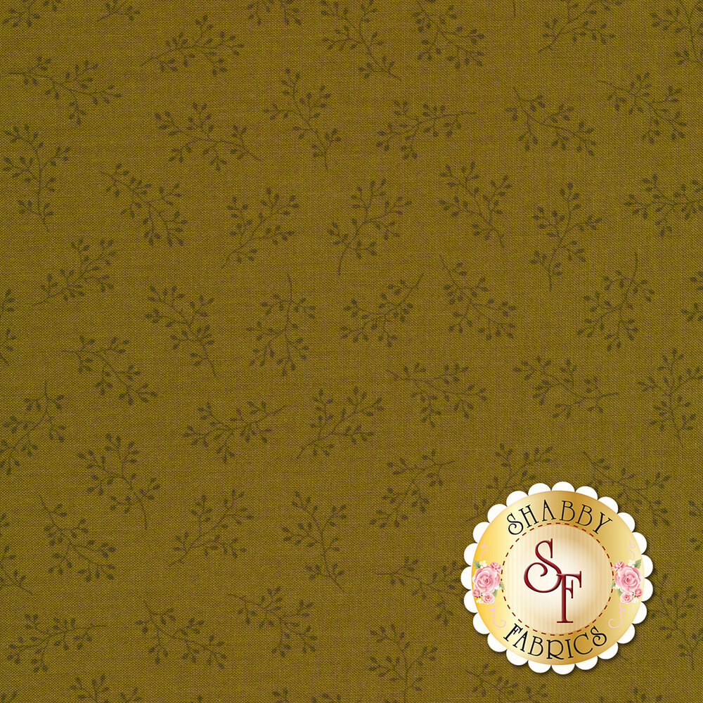 Olive green tonal print with olive branches   Shabby Fabrics