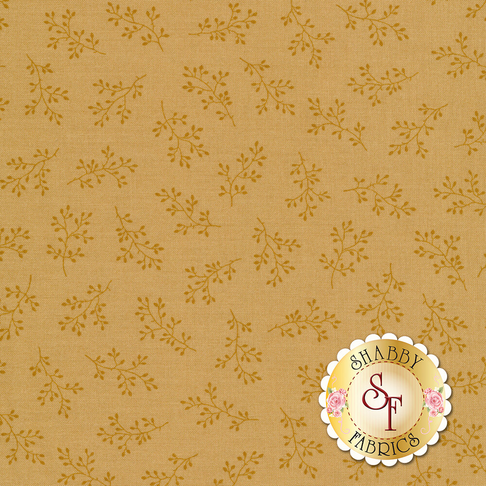 Light yellow tonal print with olive branches | Shabby Fabrics