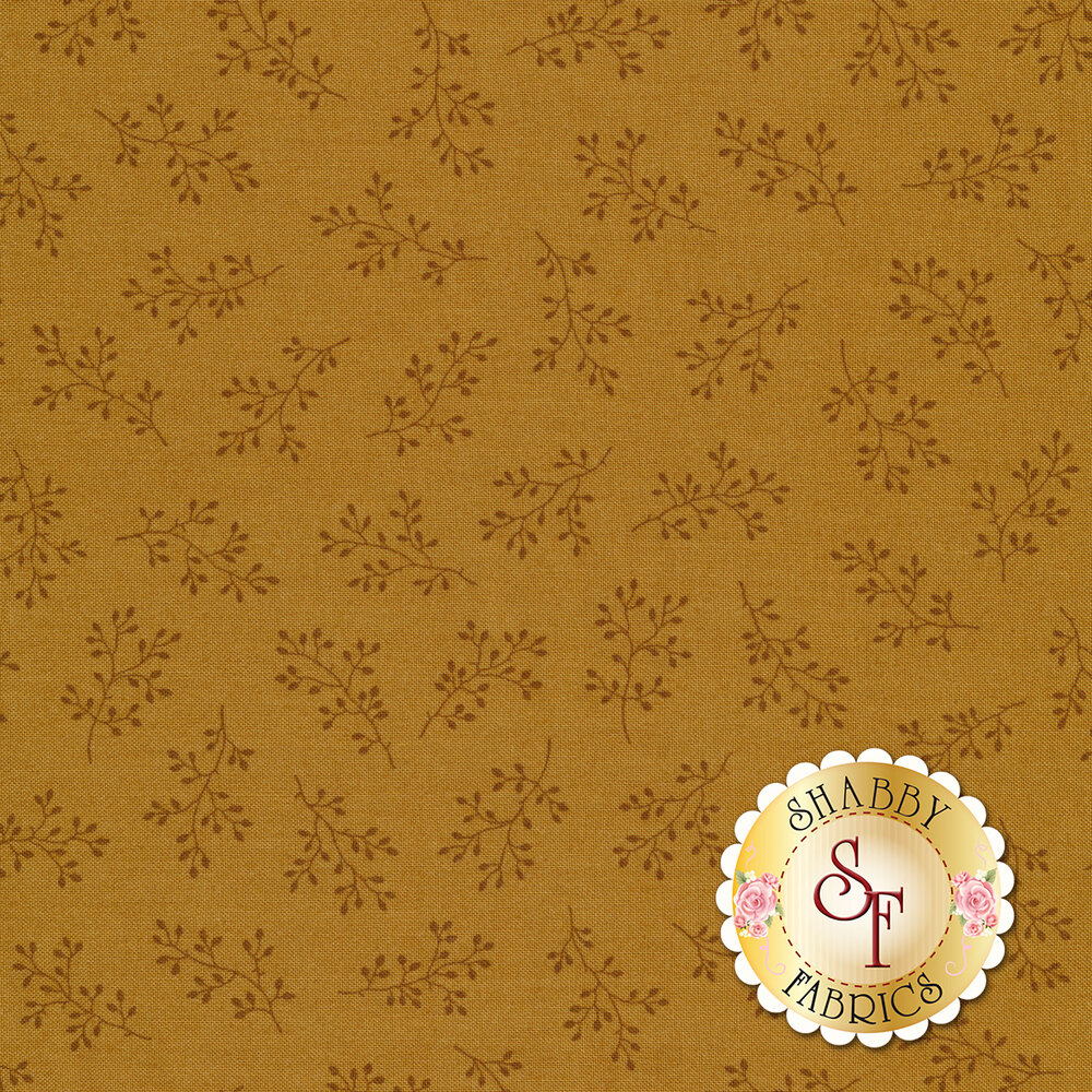 Light brown tonal print with olive branches | Shabby Fabrics
