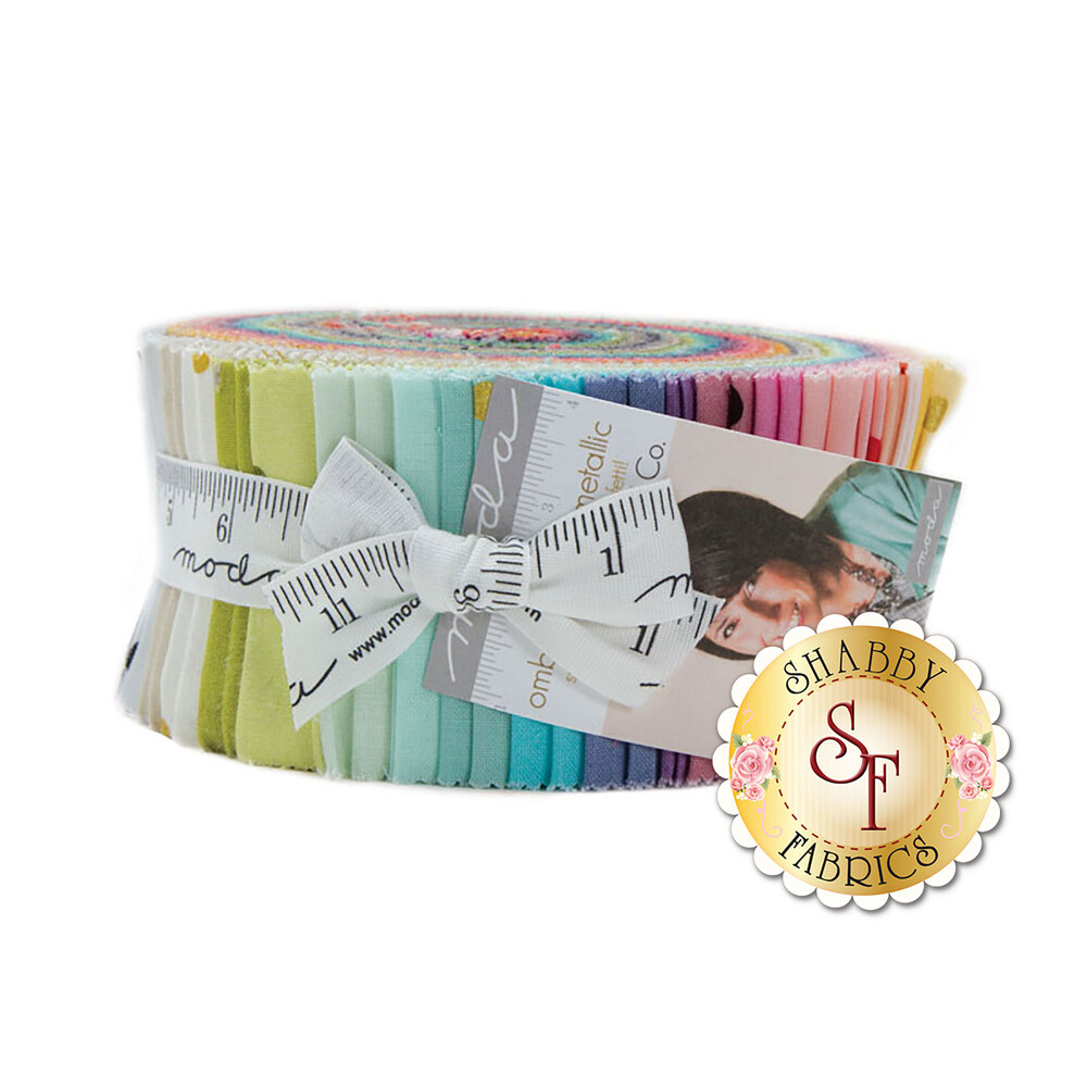 Ombre Confetti Metallic Jelly Roll by Moda Fabrics