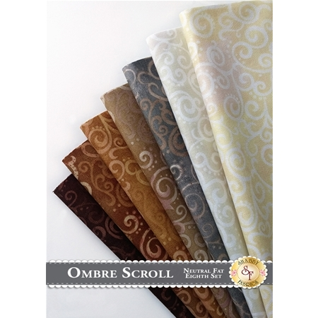 Ombre Scroll   7 Fat Eighth Set - Neutral Set by Studio 8 for Quilting Treasures