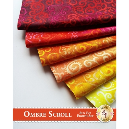 Ombre Scroll   6 Fat Eighth Set - Sun Set by Studio 8 for Quilting Treasures
