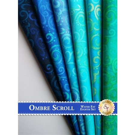 Ombre Scroll   6 Fat Eighth Set - Water Set by Studio 8 for Quilting Treasures