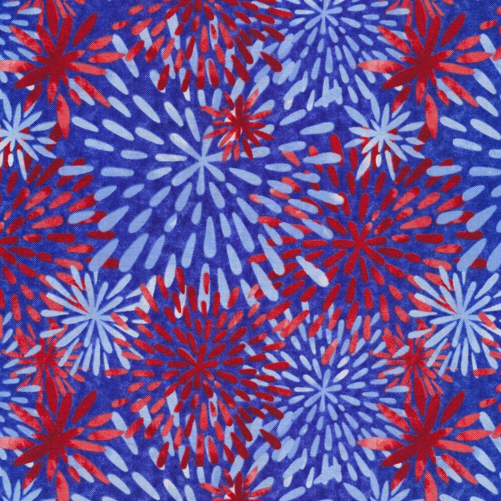Light blue and red on dark blue | Shabby Fabrics