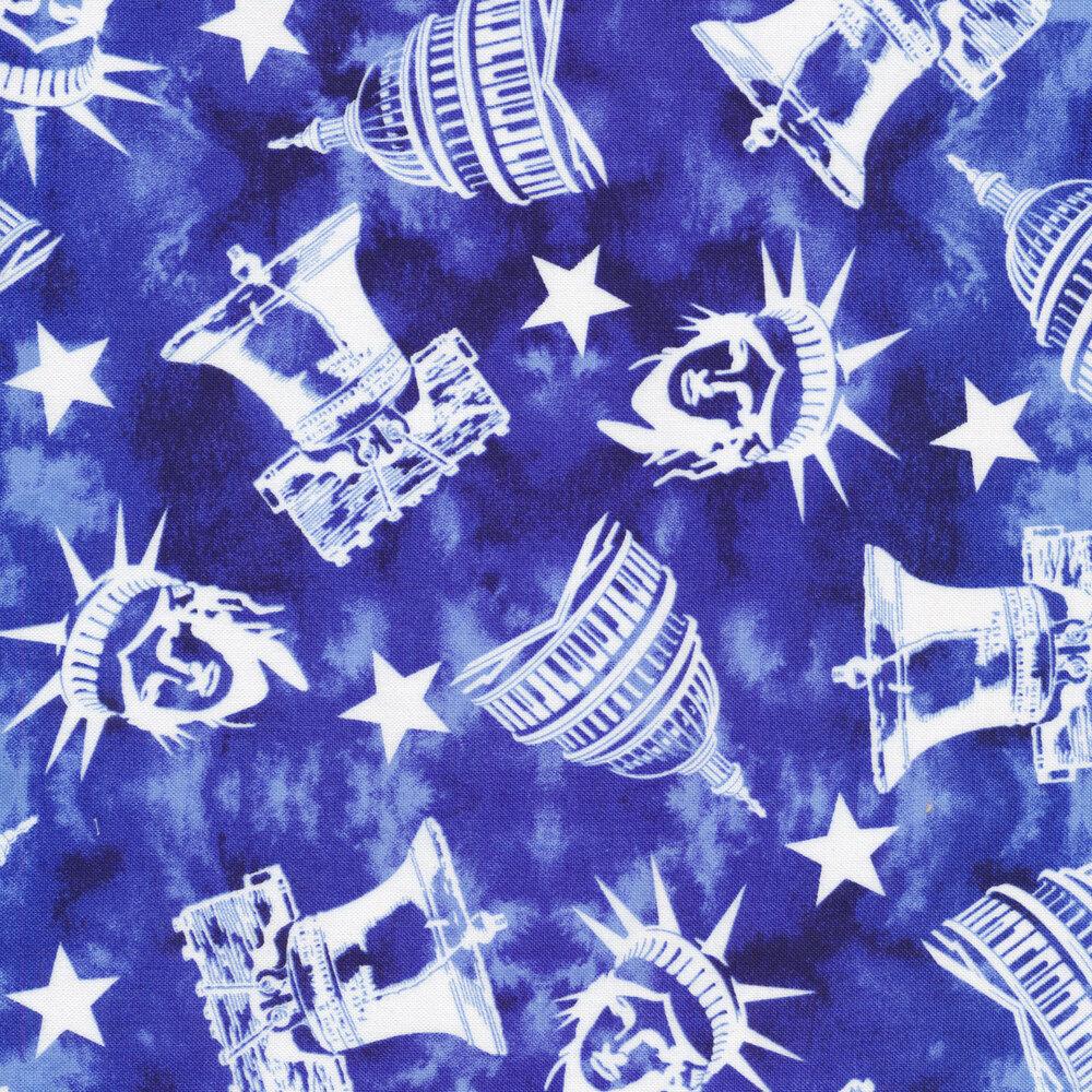 White patriotic symbols all over blue | Shabby Fabrics