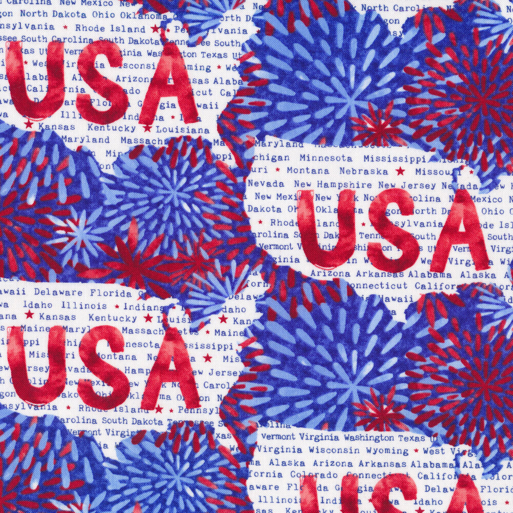 USA and words all over white | Shabby Fabrics