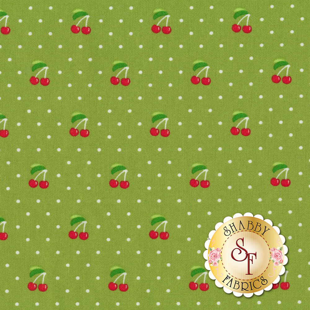 Orchard 24074-15 Cherry Pie Lime by Moda available at Shabby Fabrics