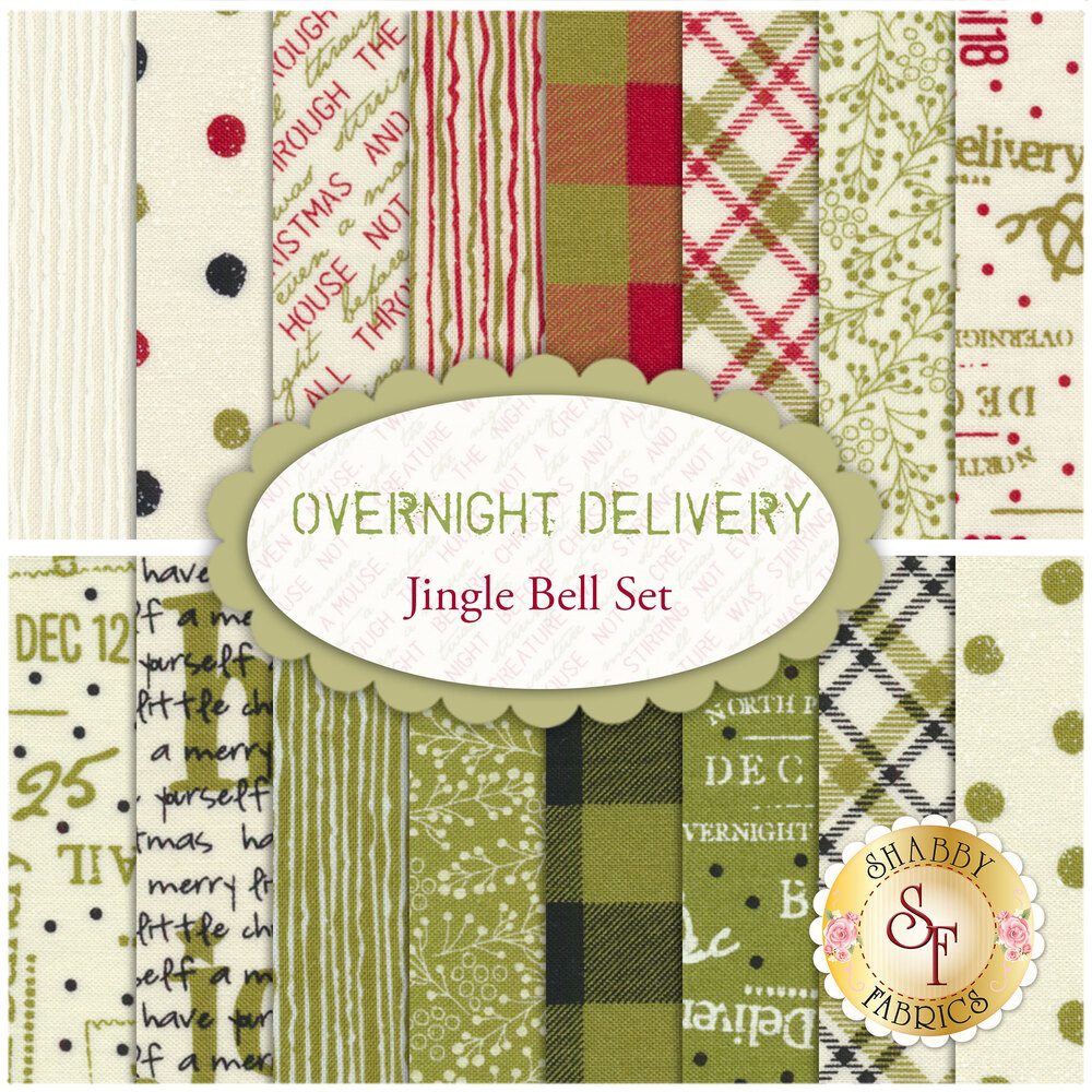 Overnight Delivery  16 FQ Set - Jingle Bell Set by Moda Fabrics