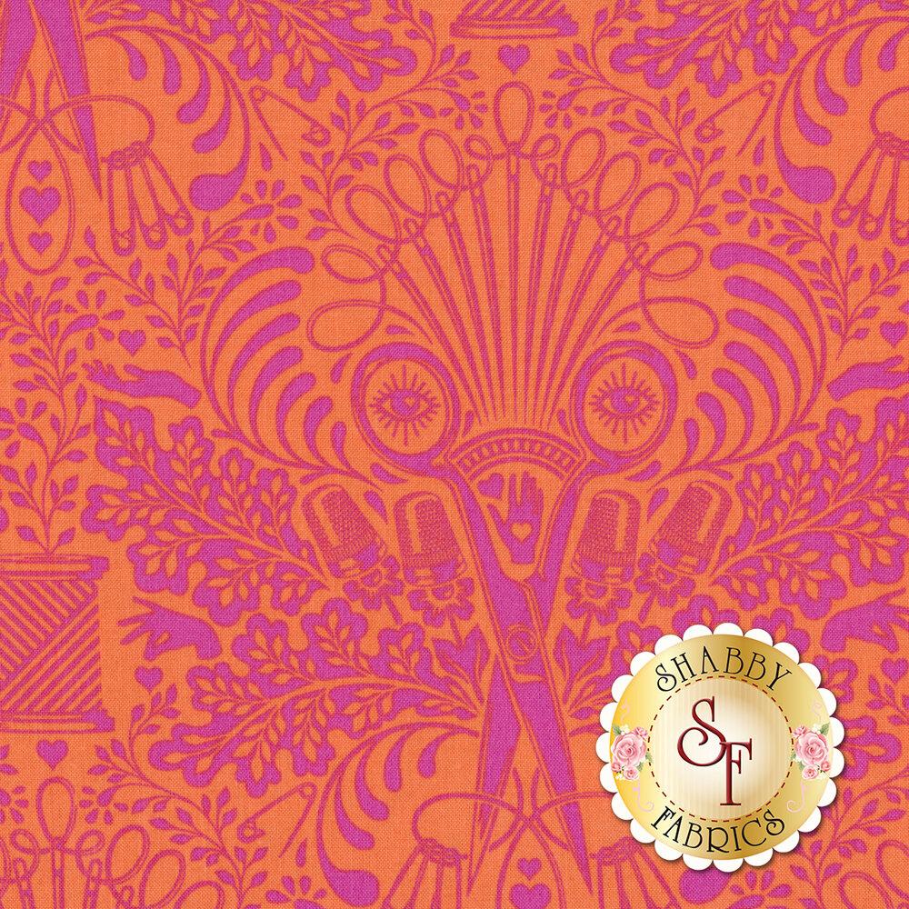 Psychedelic magenta scissor design on orange | Shabby Fabrics