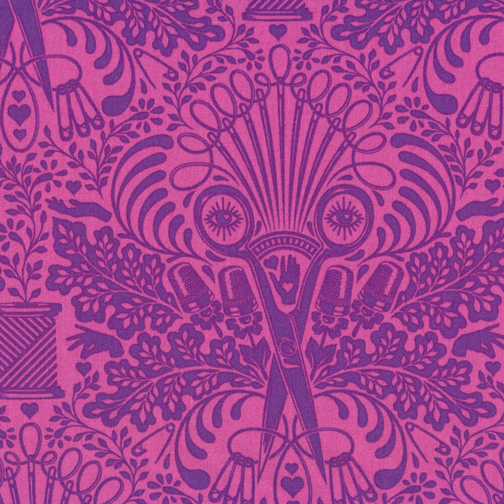 Psychedelic tonal scissor design on purple | Shabby Fabrics