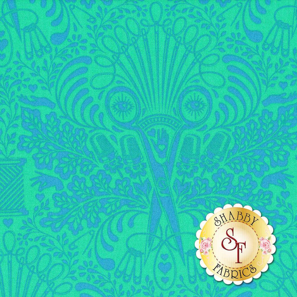 Psychedelic tonal scissor design on teal   Shabby Fabrics