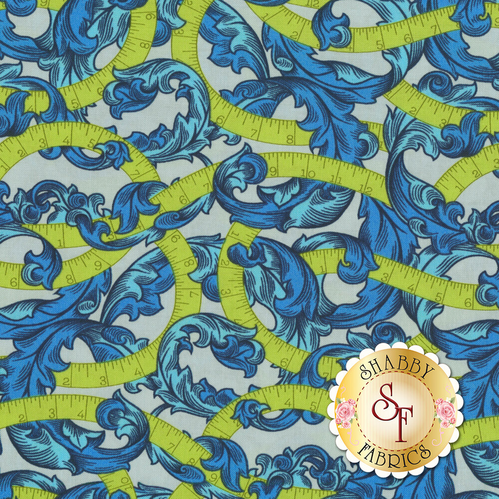 Chartreuse measuring tape on blue leafy scrolls on gray | Shabby Fabrics