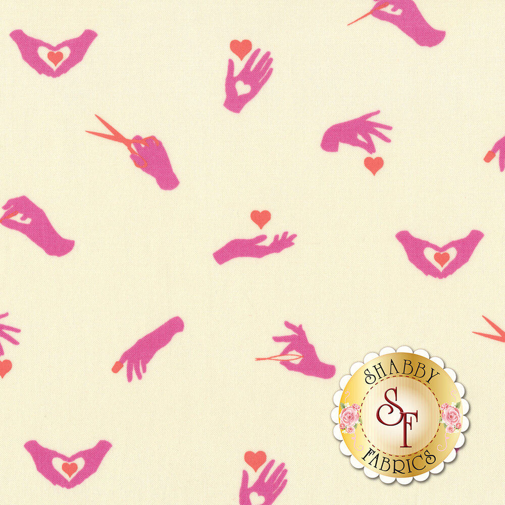 Pink hands with orange/red sewing tools and hearts on cream | Shabby Fabrics