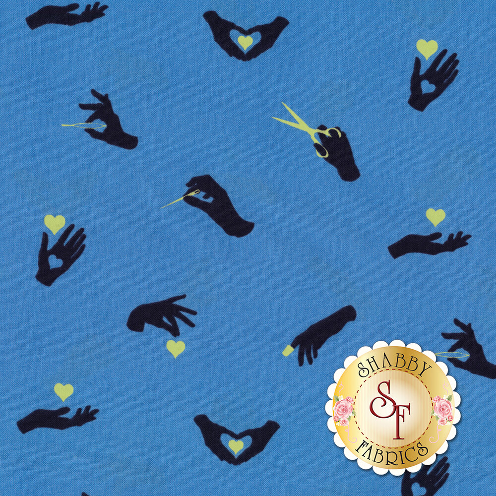 Dark blue hands with yellow sewing tools and hearts on blue | Shabby Fabrics