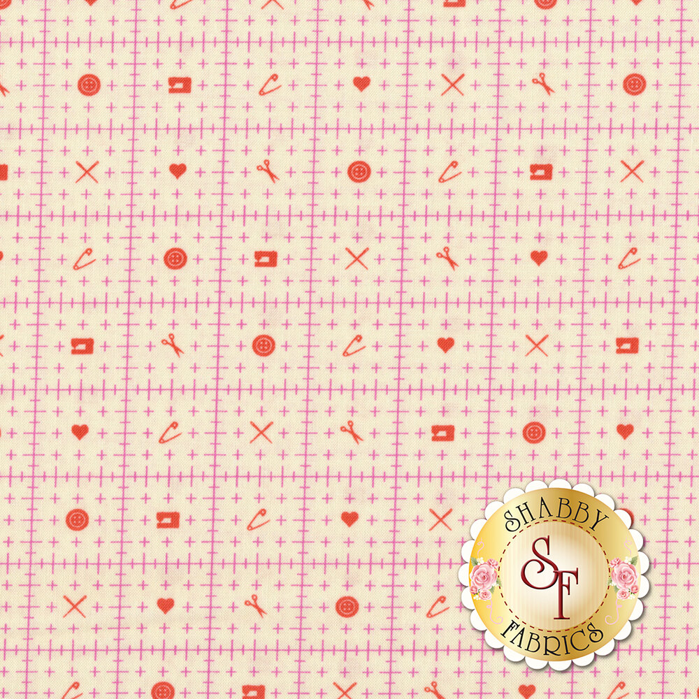Pink ruler design with orange sewing motifs on cream | Shabby Fabrics