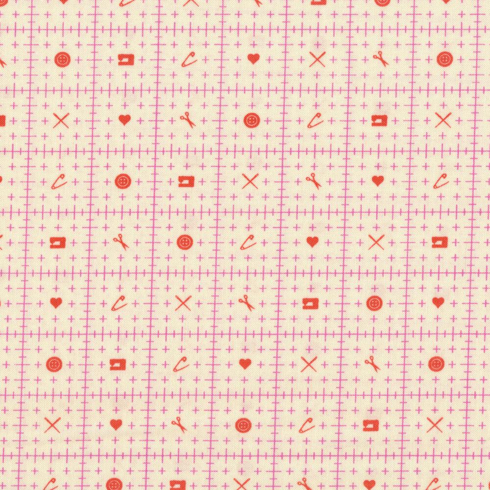 Pink ruler design with orange sewing motifs on cream | Shabby Fabrics