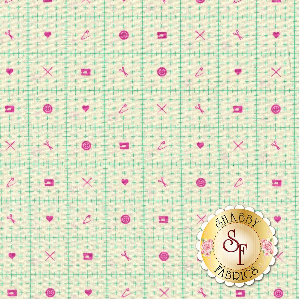 Mint ruler design with magenta sewing motifs on cream | Shabby Fabrics