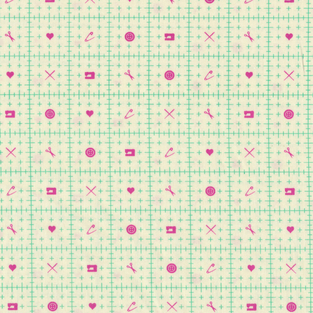 Mint ruler design with magenta sewing motifs on cream | Shabby Fabrics