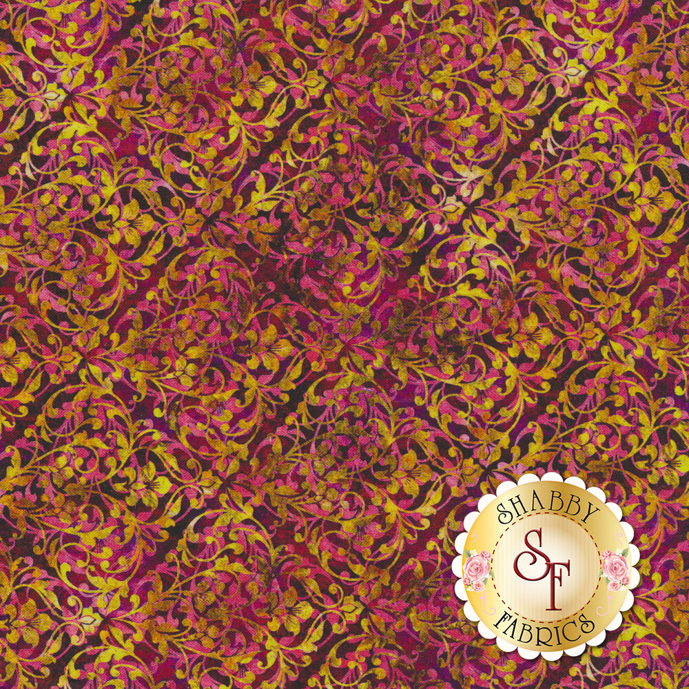 Gold and pink swirls and scrolls in a tiled pattern on a dark purple background | Shabby Fabrics