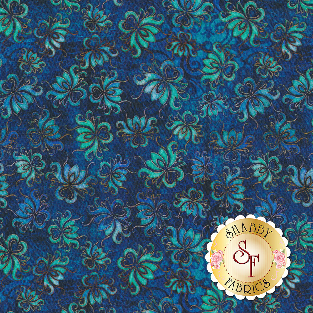 Tossed floral designs on a dark blue mottled background | Shabby Fabrics