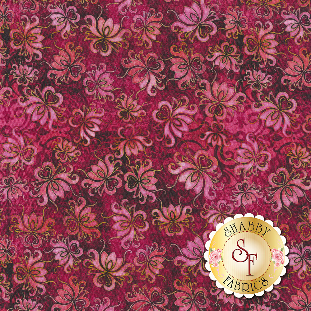 Tossed floral designs on a dark pink mottled background   Shabby Fabrics