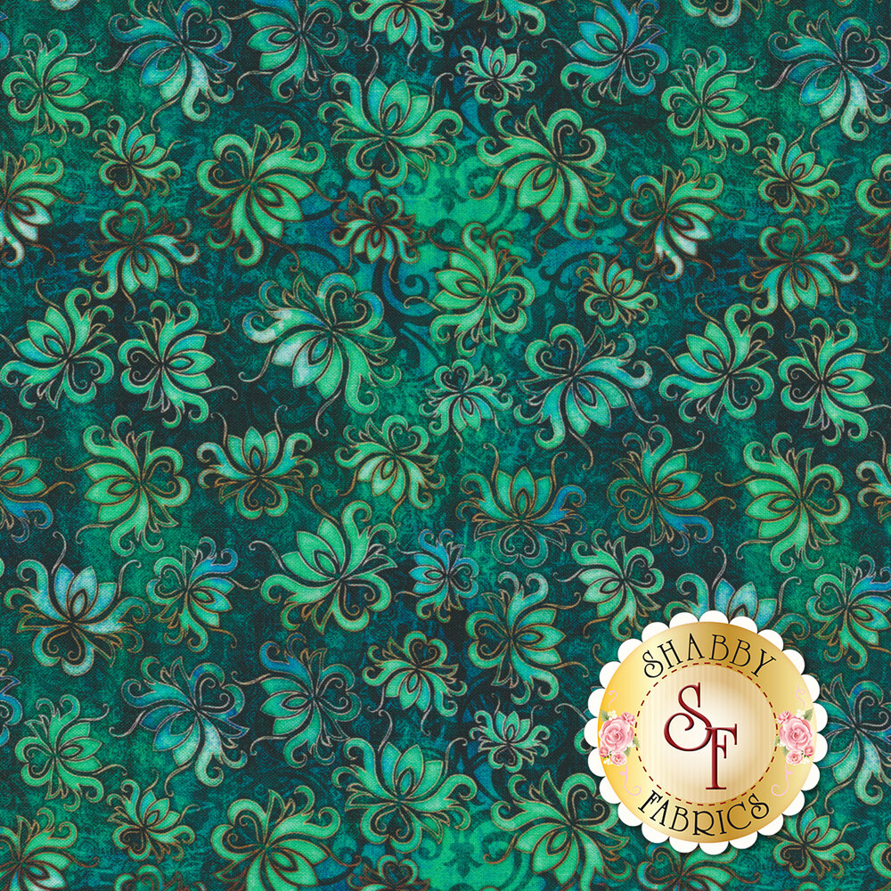 Tossed floral designs on a dark teal mottled background | Shabby Fabrics
