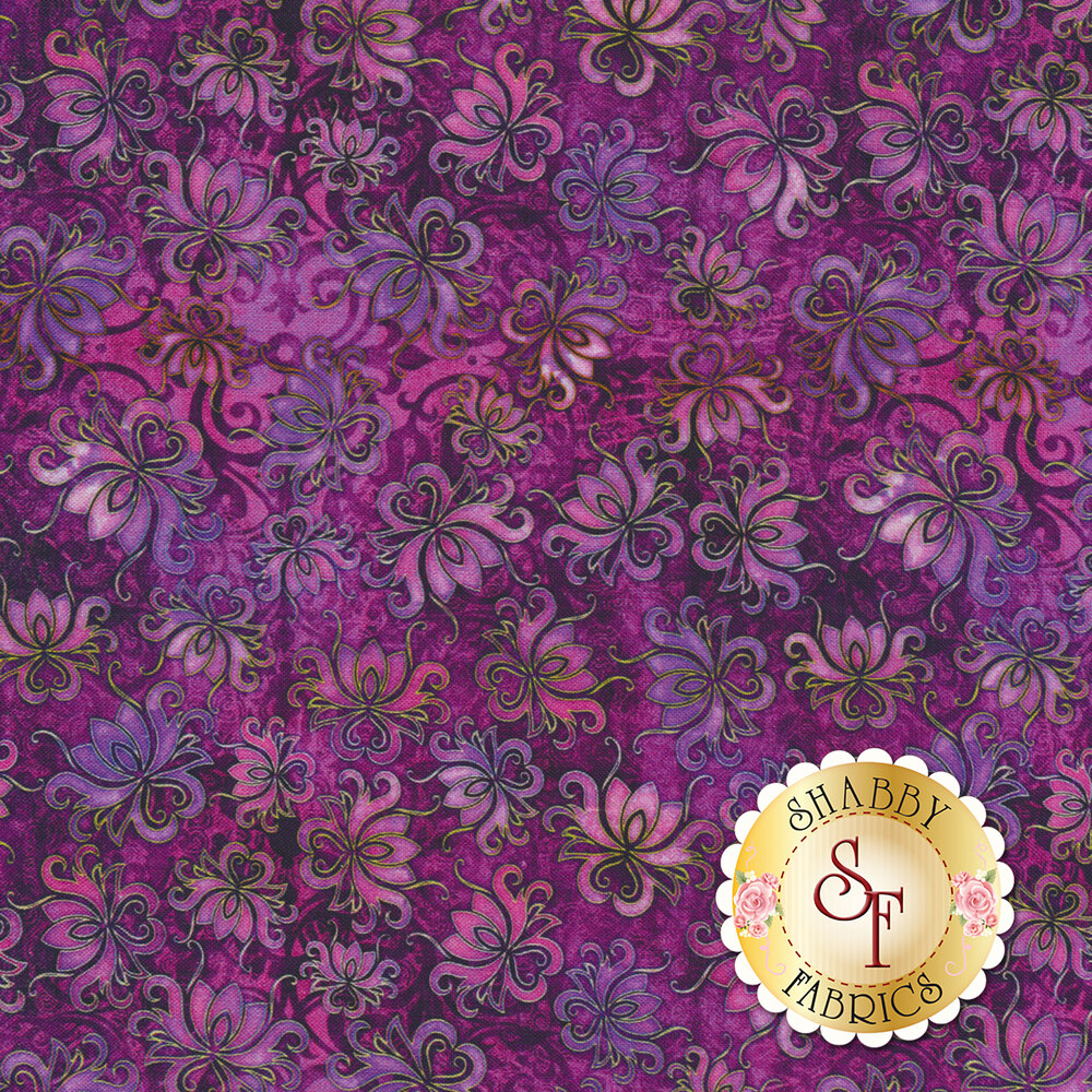 Tossed floral designs on a dark purple mottled background | Shabby Fabrics