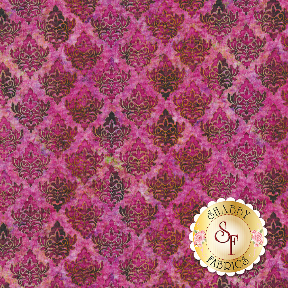 Dark pink damasks on a mottled pink background | Shabby Fabrics
